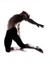 Man modern ballet dancer dancing gymnastic acrobatic jumping Royalty Free Stock Photo