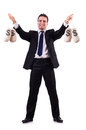 Man with money sacks on white Stock Photos