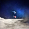 Man on the moon an american flag with earth in background Stock Images