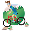 Man mountain biking Royalty Free Stock Photo