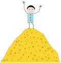 Man on the mountain of coins joyful top a gold Royalty Free Stock Image
