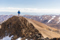 Man mountaineer walking Bolivia mountains  ridge. Royalty Free Stock Photo