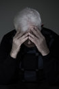 Man mourning his lost love widowed vertical view Stock Photography