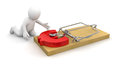 Man and mousetrap with euro sign clipping path included image Royalty Free Stock Photos