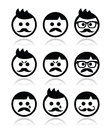 Man with moustache or mustache avatar icons set collection of boy faces happy sad angry Stock Photos