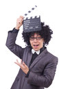 Man with movie clapper isolated on white Royalty Free Stock Photos
