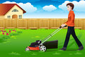 Man mowing the lawn a vector illustration of a Stock Images