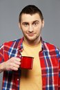 Man with a mug Royalty Free Stock Photography