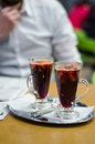 Man with mulled wine in restaurant drinking Royalty Free Stock Photo