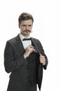 Man with the mustache and money young a handlebar pin striped suit pulls out his wallet Stock Photography