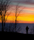 Man and nature sunet Stock Photo