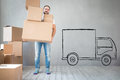 Man New Home Moving Day House Concept Royalty Free Stock Photo