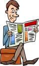 Man With Newspaper Cartoon Ill...