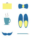 Man objects stylish blue and yellow accessories and isolated Royalty Free Stock Photography