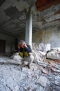 Man in old abandoned building Stock Photography