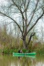 Man in old canoe on the river in front of big old dead tree green green with backpack portrait Royalty Free Stock Photo