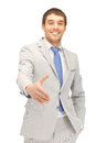 Man with an open hand ready for handshake Royalty Free Stock Photo