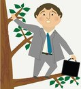 Man out on a limb distressed business tree Royalty Free Stock Image