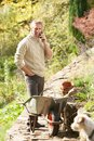 Man Outdoors On Mobile Phone With Dog Stock Images