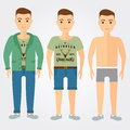 Man outfits underwear, casual and sport in flat style