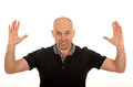 Man with outstretched arms a on white background Stock Photos