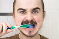 Man over whom play prank by colouring his tooth brush Royalty Free Stock Photos