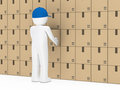 Man package wall Royalty Free Stock Photography