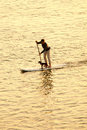 Man paddleboarding at sunset with dog Stock Image