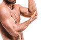 Man With Pain In Elbow. Pain concept