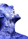 Man painted blue pealing off Royalty Free Stock Image