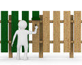 Man paints fence on white background d image Royalty Free Stock Photo