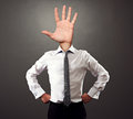 Man with palm hand gesture instead of the head business Royalty Free Stock Photo