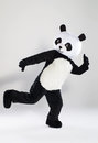 Man in panda costume over white background Royalty Free Stock Photo