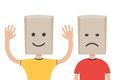 Man with a paper bag, sad and happy