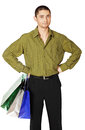 Man with paper bags young on white background Stock Images