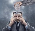 Man with paper in his brain Royalty Free Stock Photo