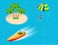 Man parasailing with parachute behind the motor boat. Creative vacation concept. Water Sports. Parachute sailing, Fun in Royalty Free Stock Photo