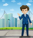 A man at the pedestrian lane across the tall buildings illustration of Royalty Free Stock Images