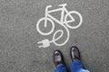 Man people E-Bike E Bike Ebike electric bike electro bicycle eco Royalty Free Stock Photo