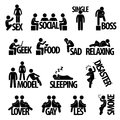 Man people person text concept pictogram a set of representing with Royalty Free Stock Image