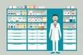 Man pharmacist in a pharmacy, drugstore. Shelves with medicines, cure, pills. Royalty Free Stock Photo