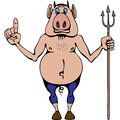 Man pig hell devil works in pitchfork Royalty Free Stock Photo