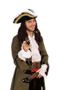 Man in a pirate costume with pistols Stock Images