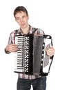 Man playing an accordion isolated over white Royalty Free Stock Photo