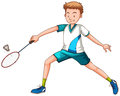 Man playing badminton with racket Royalty Free Stock Photo
