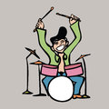 Man playing band drum cartoon character of drummer Royalty Free Stock Photography