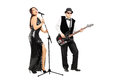 Man playing a bass guitar and woman singing full length portrait of men women isolated on white background Stock Images