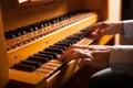 Man playing a church organ Royalty Free Stock Photo