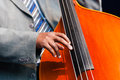 Man playing a double bass in an orchestra close up of the hand of sitting large wooden stringed instrument played with very Royalty Free Stock Photography