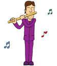 Man Playing Flute Stock Photography